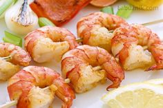 10 Simple, make-ahead appetizers: Garlic lemon shrimp skewers Fish Dishes, Seafood Dishes, Seafood Recipes, Cooking Recipes, Healthy Recipes, Shellfish Recipes, Quick Recipes, Make Ahead Appetizers, Healthy Appetizers