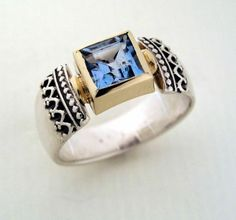 Sterling silver and yellow gold, oxidized filigree ring with a  rose cut , square blue topaz. gemstone - Triumph.
