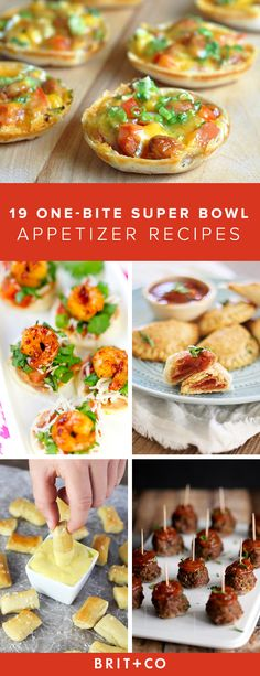Bookmark this for 19 one-bite appetizers for your Super Bowl party.