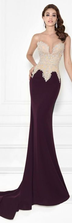 Beaded Lycra Crepe Gown by Tarik Ediz Plus Size Occasion Dresses, Special Occasion Dresses, Gala Dresses, Red Carpet Dresses, Pageant Dresses, Dresses 2016, Beautiful Dress Designs, Bateau Neckline, Unique Dresses