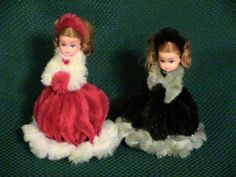 "2 Vintage Chenille Pipe Cleaner Dolls 5"" Tall 