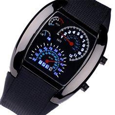 Novel Design OL Fashion Aviation Turbo Dial Flash LED Watch