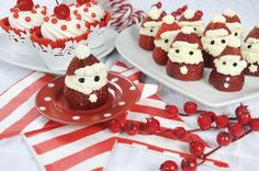 Strawberry Santas With Strawberries, Powdered Sugar, Mascarpone Cheese, Semisweet Mini Chocolate Chips, Pure Vanilla Extract Holiday Appetizers, Holiday Treats, Christmas Treats, Holiday Recipes, Christmas Recipes, Christmas Cooking, Christmas Goodies, Christmas Buffet, Holiday Foods