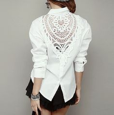 Женственный рубашка белый крючком тело женственная блузка с длинным рукавом отложным воротником кружева блузки женская одежда топ купить на AliExpress