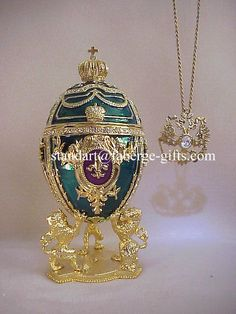 ronanov fabege pic | Faberge Emerald Green Fleur Egg  Necklace *