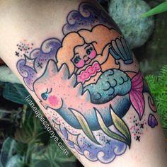 Sweet Sea Mermaid and Seahorse Tattoo by Linnea Pecsenye @linneatattoos in…