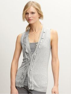 ruffle placket sweater vest