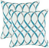 Pack of 2 CaliTime Throw Pillow Covers, Modern Two-tone Waves Geometric, 18 X 18 Inches, Gray Teal