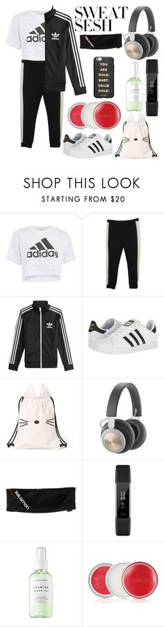 """""""Striped Workout"""" by cassielovesteal ❤ liked on Polyvore featuring Topshop, Twin-Set, adidas, Salomon, Fitbit, Herbivore, Clinique and ban.do"""