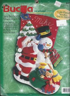 Bucilla Felt Christmas Stocking Santa and Frosty Kit Sequins Beads NEW #Bucilla
