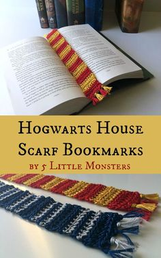 Scarf Crochet Which House do you belong in? Check out these Hogwarts House Scarf Crochet Bookmarks to match! - perfect for Holiday gifts! - Free crochet pattern for Hogwarts House Scarf Bookmarks in two styles. Knitting Projects, Crochet Projects, Knitting Patterns, Crochet Patterns, Crochet Bookmark Patterns Free, Scarf Patterns, Canvas Patterns, Stitch Crochet, Free Crochet