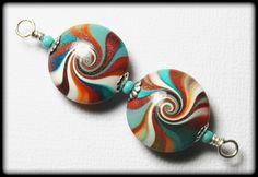 Painted Desert...Handmade Polymer Clay Beads Set Earring Pair Turquoise Terra Cotta Orange Aqua Silver Lentil Lentils Swirl Spiral Bead Caps by Fanceethat on Etsy