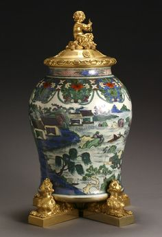 Louis XVI Style Ormolu Mounted Chinese 'Famille Verte' Porcelain Covered Urn  The Porcelain, 19th Century; The Mounts, Circa 1900 Fine Furniture & Decorations - Sale 1303 - Lot 361 - ADAM A. WESCHLER & SON, INC : AUCTIONEERS AND APPRAISERS - SINCE 1890