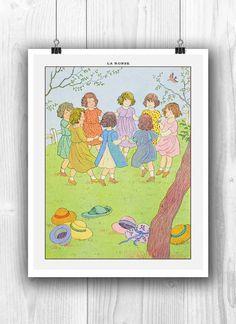French art Circle dance Children game print vintage by PrintCorner