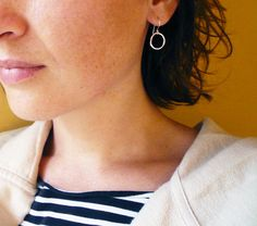 Small Silver Circle Hoop Earrings in Sterling Silver by roundabout, $24.00