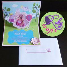 Peppa Pig Pop Up Invitation Card Designed and sold by Ruby Crafts and Gifts Shop Peppa Pig Invitations, Pop Up Invitation, Invitation Card Design, Invitation Cards, Birthday Invitations, Invites, Wedding Invitations, Pig Party, Paper Crafts