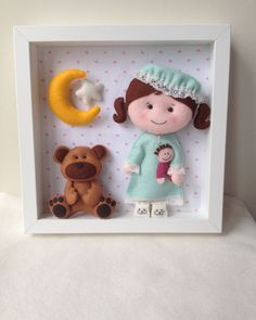 Doll and Bear Box Frame-Baby Decorative Frame-Child Frame Decor-Nursery Decor-Handmade Doll-Wall Decor-Box Frame by feltncuddles on Etsy