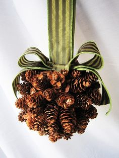 Better picture of the pine cone pomander. Maybe white and silver for winter wedding?