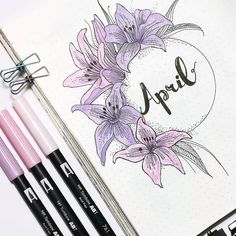 Spring flowers theme inspired bullet journal monthly cover page by Mary Niño. Bullet Journal 2019, Bullet Journal Notebook, Bullet Journal Spread, Bullet Journal Ideas Pages, Bullet Journal Layout, Bullet Journal Inspiration, Bullet Journals, Art Journal Pages, Journal Covers