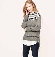 Petite Slouchy Fair Isle Sweater - In a luxe wool blend, this slouchy fair isle piece warms us right up. Crew neck. Long sleeves. Drop shoulders. Ribbed neckline, cuffs and vented hi-low hem.