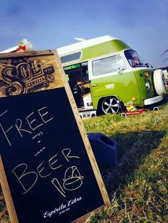 Lime green vw bus and beer!!