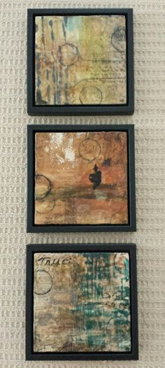 Art for Coffee's Sake: Commissioned Triptych: Untitled, Encaustic on Wood each 12x12 unframed, 14x14 framed