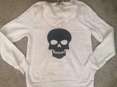 SALE - Skull Sweatshirt - Eco Fleece - Workout Zip Up Hoodie - Ruffles with Love