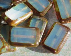 Opal Blue Czech Tablet Beads With Picasso Edge, 12 Beads - Item 1939