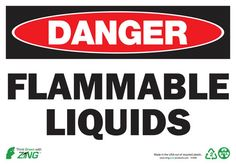 "ZING Eco Safety Sign ""DANGER FLAMMABLE LIQUIDS"" communicates critical messages that inform of designated areas and important safety precautions. Sign is made from high quality 70% post-consumer recycl"