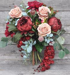 This romantic inspired bouquet is made with marsala burgundy peonies, dahlias, berries, eucalyptus with wisteria trailing. Wedding Flower Packages, Cheap Wedding Flowers, Bouquet Bride, Wedding Bouquets, Rose Bouquet, Wedding Flower Design, Floral Wedding, Wedding Decor, Diy Wedding