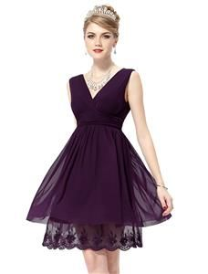 Ever Pretty Sexy Double V-neck Ruched Cocktail Dress