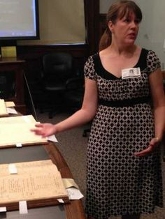 Lacy Brooks explains the research she conducted on the city's use of slaves. Kendall Jackson/Savannah Morning News