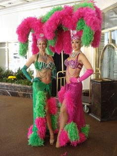Pink and Green Las Vegas Style Showgirl by J and D Entertainment in Houston Showgirl Costume, Vegas Showgirl, Burlesque Costumes, Carnival Costumes, Girl Costumes, Dance Costumes, Halloween Costumes, Las Vegas Show Girls, Las Vegas Shows