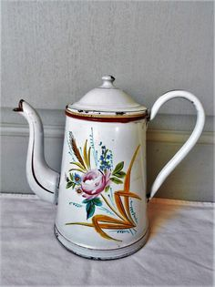 ANTIQUE French GORGEOUS Enamel FLORAL COFFEE POT : ROSE + LEAVES  #FrenchCountryProvincial