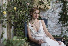 Ivory Silk Chiffon Wedding dress with beaded detail, by Sienna Von Hildemar. Ivory Silk, Bespoke Design, Silk Chiffon, Service Design, Romantic, Detail, Wedding Dresses, Unique, Collection