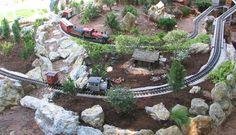 Development of the Sandflea and Redbud Garden Railway Garden Bridge, Garden Train, Garden Railroad, Train Layouts, Magical Creatures, Outdoor Structures, Outdoor Decor, Plants, Miniature Gardens