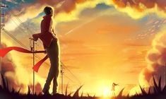 Konachan.com - 188618 clouds grass kagerou_project kisaragi_shintaro kneehighs long_hair male p.rupon scarf short_hair skirt sky sunset tateyama_ayano.jpg (2894×1724)