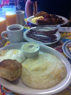 Make sure to start your Jazz Fest day off right with a big breakfast!  Nothing like eggs and southern cheese grits with Praline bacon.  Oh, yeah and a biscuit and gravy and... burp!