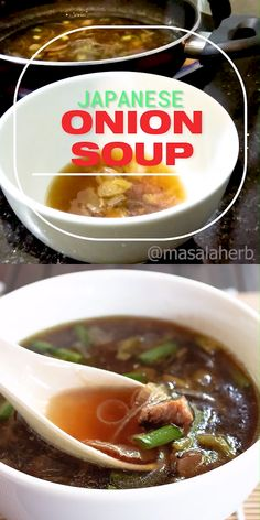 Japanese Onion Soup Recipe with Mushrooms ginger garlic soy sauce and beef broth. Flavorful and aromatic with dried Japa Onion Soup Recipes, Easy Soup Recipes, Mushroom Recipes, Cooking Recipes, Healthy Recipes, Asian Onion Soup Recipe, Japanese Clear Onion Soup Recipe, Japanese Recipes, Vegetarian Recipes