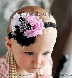 Lindos blancas y negro shabby chic rosas bebé venda, venda del niño, bebé chica venda, venda. VISITE nuestra tienda