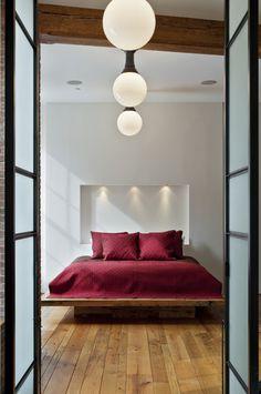 Platform Bed and Inset Shelf/Lighting
