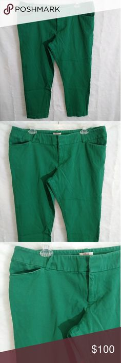 Green Merona Cropped Pant Brand: Merona Size: 18  Green cropped pants with hooks, zipper and button closure. Chub rub aka inner thigh piling. St Patty's Day ready! Merona Pants Ankle & Cropped