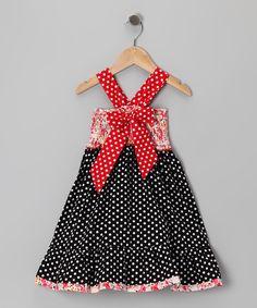 Black & Pink Polka Dot Bow Dress - Toddler & Girls