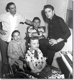 Faron Young and Elvis backstage with children from the March of Dimes - Apr. 10, 1956