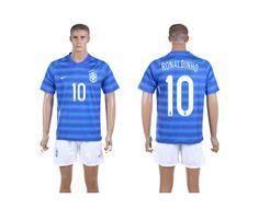 2014 World Cup Brazil Football Shirt Set Away NO.10 Ronaldinho