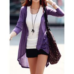 Simple Design Solid Color Long Sleeve Women's Cardigan