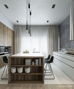 4 Sleek Interiors Where Wood Takes Center Stage | Kitchens + Pantries  | Kitchens, Contemporary Kitchen Island and Kitchen Islands