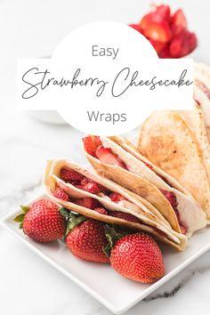 Fresh srawberries folded around sweet cream cheese filling, grilled to perfection! #tikTokwrap #dessertWrap Quick Easy Desserts, Fun Desserts, Delicious Desserts, Best Dessert Recipes, Cupcake Recipes, Baking Recipes, Simple Dessert, Dessert Ideas, Party Cookies Recipe