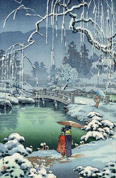 """Japanese Art Print """"Kyoto Maruyama, Spring Snow"""" by Tsuchiya Koitsu, woodblock print reproduction, a Japanese Artwork, Japanese Painting, Japanese Prints, Chinese Painting, Japanese Drawings, Japan Illustration, Botanical Illustration, Japon Tokyo, Kyoto Japan"""
