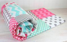 Baby Girl Blanket, Nursery Decor, Photography Prop, Patchwork Blanket,  Fleece Blanket, Pink, Gray, Grey, Mint Green, Tiffany Blue Chevron